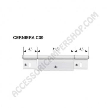 KIT CERNIERA C09 BIANCA RAL9010 PER PORTA 195X48 MM. DI CAMPER E CARAVAN