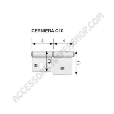 KIT CERNIERA C10 BIANCA RAL9010 PER PORTA O PORTELLONE 86X48 MM. DI CAMPER E CARAVAN  - N.2 PZ. DX+SX