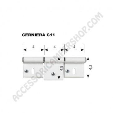 KIT CERNIERA C11 BIANCA RAL9010 PER PORTA O PORTELLONE 125X48 MM. - N.2 PZ. DX+SX DI CAMPER E CARAVAN