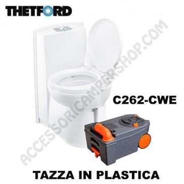 WC TOILETTE A CASSETTA THETFORD C262-CWE IN PLASTICA SCARICO ELETTRICO - SERBATOIO DI SCARICO 17,5LT - CON SERBATOIO SCIAQUONE 8 LT PER CAMPER E CARAVAN