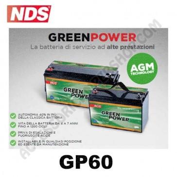 BATTERIA DI SERVIZIO NDS GP60 GREEN POWER 12V 60AH 250X160X200 MM PER CAMPER