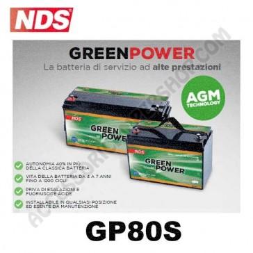BATTERIA DI SERVIZIO NDS GP80S GREEN POWER 12V 80AH 350X167X179 MM PER CAMPER