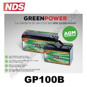 BATTERIA DI SERVIZIO NDS GP100B  GREEN POWER 12V 100AH 354X175X190 MM PER CAMPER