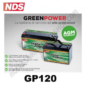 BATTERIA DI SERVIZIO NDS GP120 GREEN POWER 12V 120AH 330X171X220 MM PER CAMPER