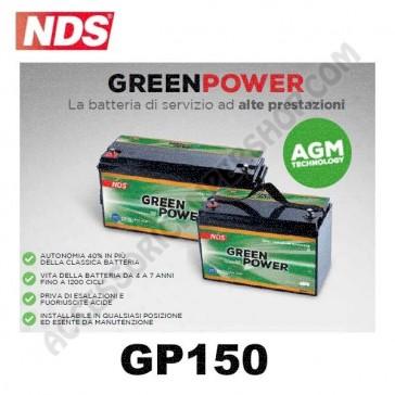 BATTERIA DI SERVIZIO NDS GP150 GREEN POWER 12V 150AH 485X172X240 MM PER CAMPER