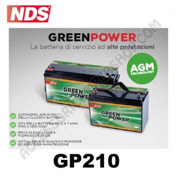 BATTERIA DI SERVIZIO NDS GP210 GREEN POWER 12V 210AH 522X238X236 MM PER CAMPER