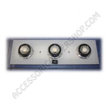 PLAFONIERA RETTANGOLARE 3X1W A LED CON 18 MINI LED BLU LUCE DI CORTESIA PER CAMPER MOTORHOME CARAVAN ROULOTTE IMBARCAZIONE
