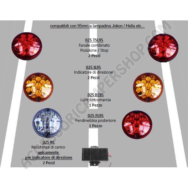 KIT CONVERSIONE 6 MODULI FANALI POSTERIORI A LED 95MM 12V+2