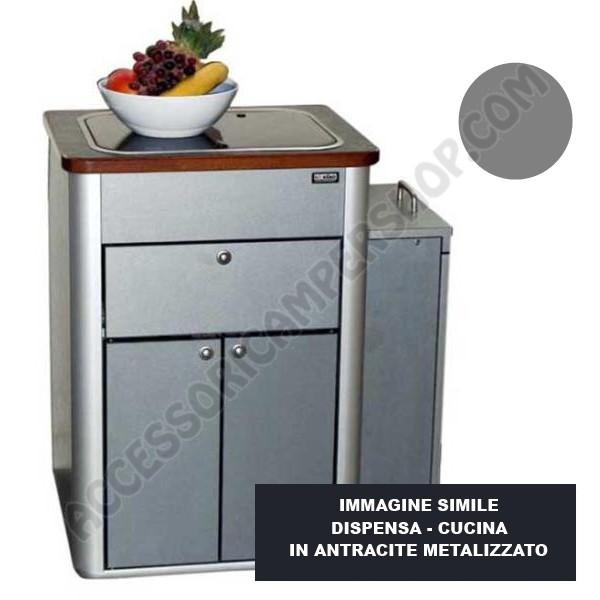 Dispensa cucina hochglanz argento per vwt5 6 multivan for Arredamento per camper