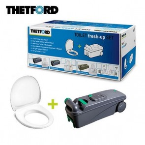 KIT TOILET FRESH-UP SET C400 CON MANIGLIA E ROTELLE PER TOILET C400 DI CAMPER E CARAVAN
