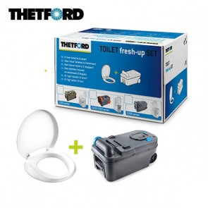 KIT TOILET FRESH-UP SET C220 CON MANIGLIA E ROTELLE PER TOILET C220 DI CAMPER E CARAVAN