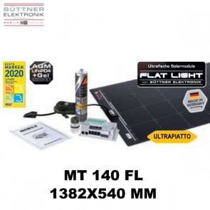 KIT PANNELLO SOLARE ULTRA-PIATTO BUTTNER ELEKTRONIK FLAT LIGHT MT FL 140 PER CAMPER CARAVAN VAN BARCA