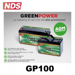 BATTERIA DI SERVIZIO NDS GP100 GREEN POWER 12V 100AH 330X171X220 MM PER CAMPER