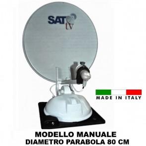 ANTENNA SATELLITARE MANUALE SAT TV SIMPLEX 80 PER CAMPER VAN  MOTORHOME CARAVAN ROULOTTE