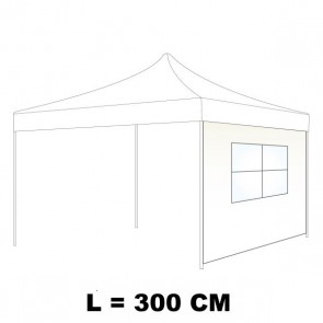 TELO LATERALE 300 CM CON FINESTRA IN PVC  CRISTAL COLORE BIANCO PER GAZEBO AUTOMATICO SIMPLE